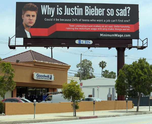 Justin Bieber, reklame, arbejdsløshed