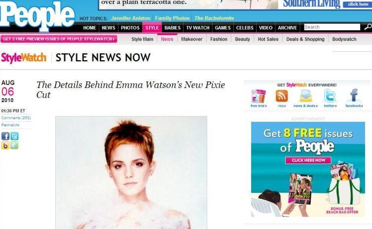 Emma Watson, Harry Potter, ny frisure, kort frisure, korthåret