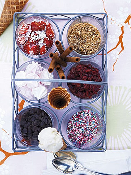 softice, drys, dessert, veninder, is, sommer, sommermad